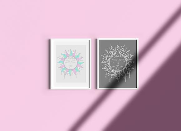 Boho Sun | Archivo Digital Plata | Impresión de bricolaje