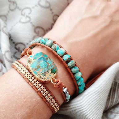 Leather Wrap Bracelet   Real Turquoise Gemstone   SOLD