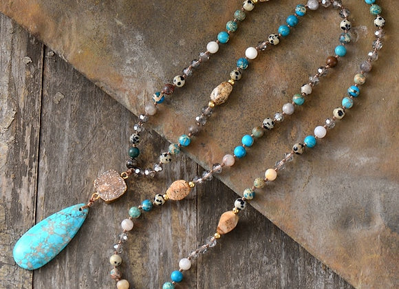 Long Necklace | Agate and Jasper Gemstones | SOLD