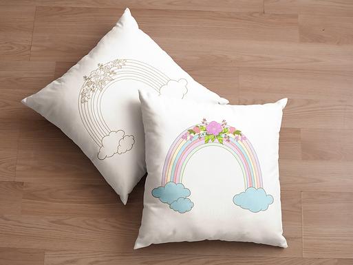 Boho Pillow Case | Gold | Rainbow