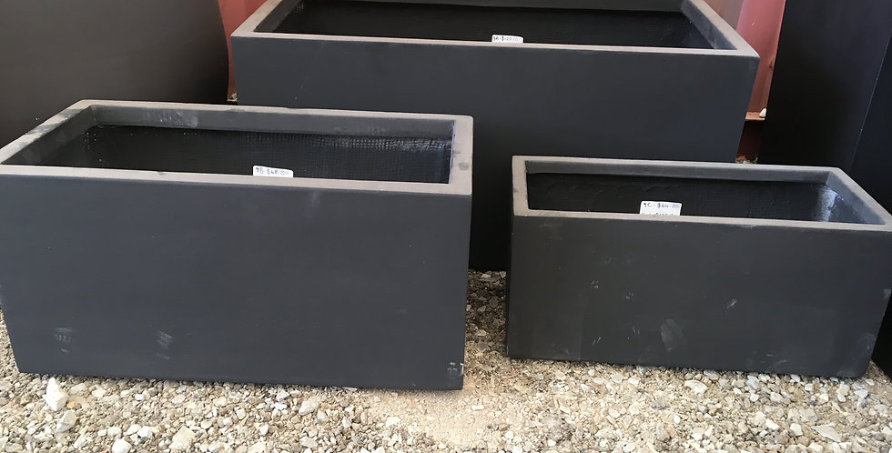 Sunnydene Rectangle Fiberglass Planter Box - Black