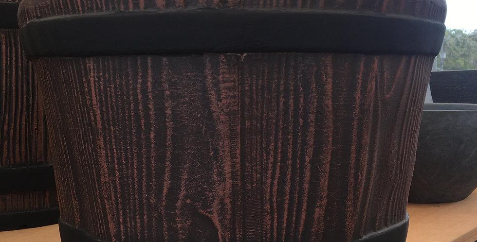 Sunnydene Wooden barrel fiberglass planter pot