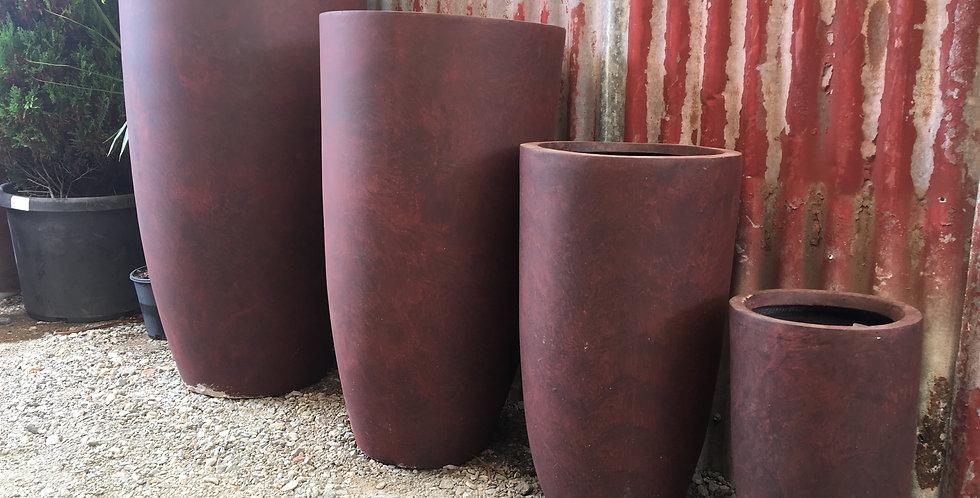 Tall Round Modern Garden Fiberglass Planter Set - Red/Brown