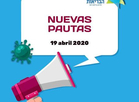 ACTUALIZACIÓN DE PAUTAS DE EMERGENCIA EN ISRAEL A PARTIR DEL 19/4/2020
