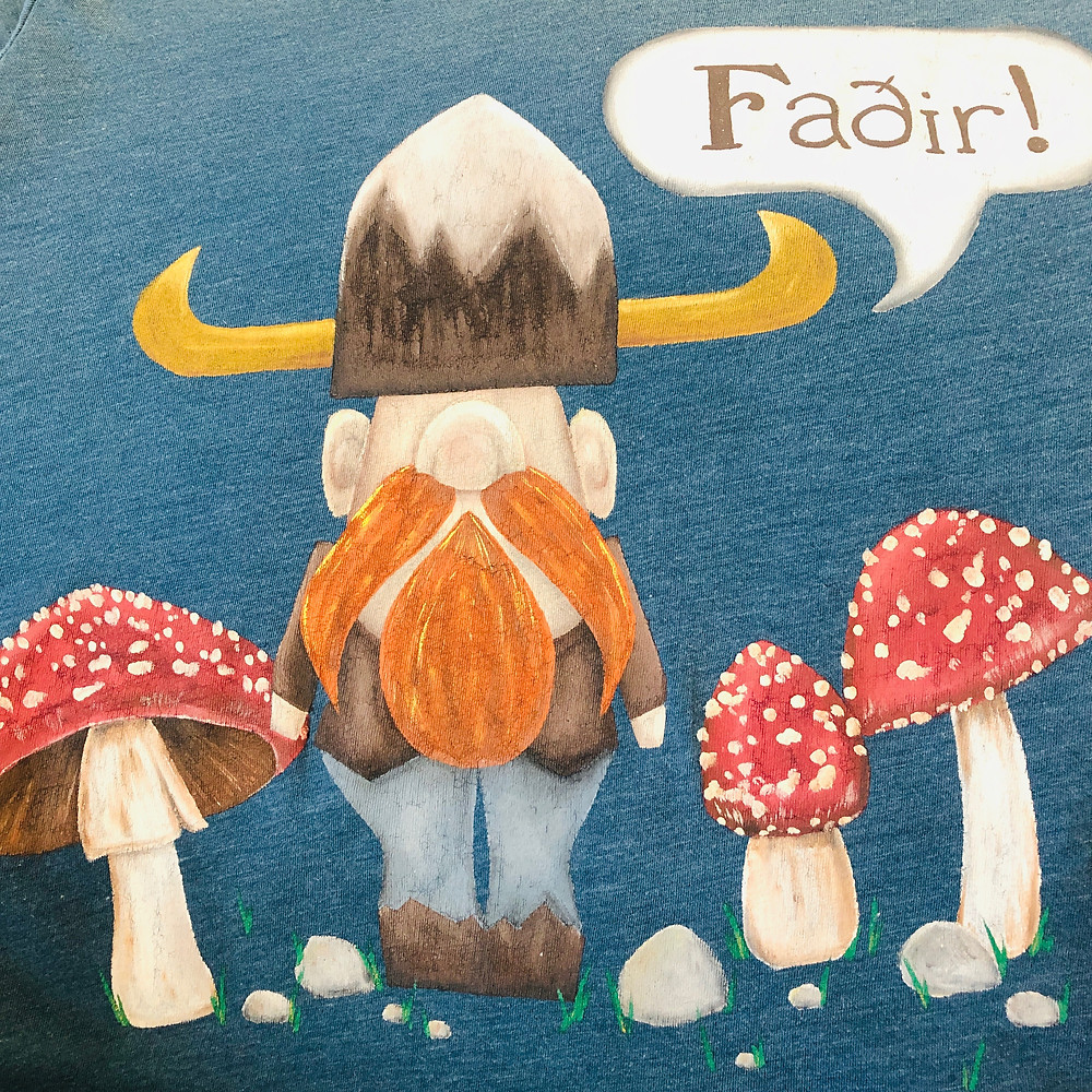 Hand painted Viking with mushrooms on Fathers Day t-shirt