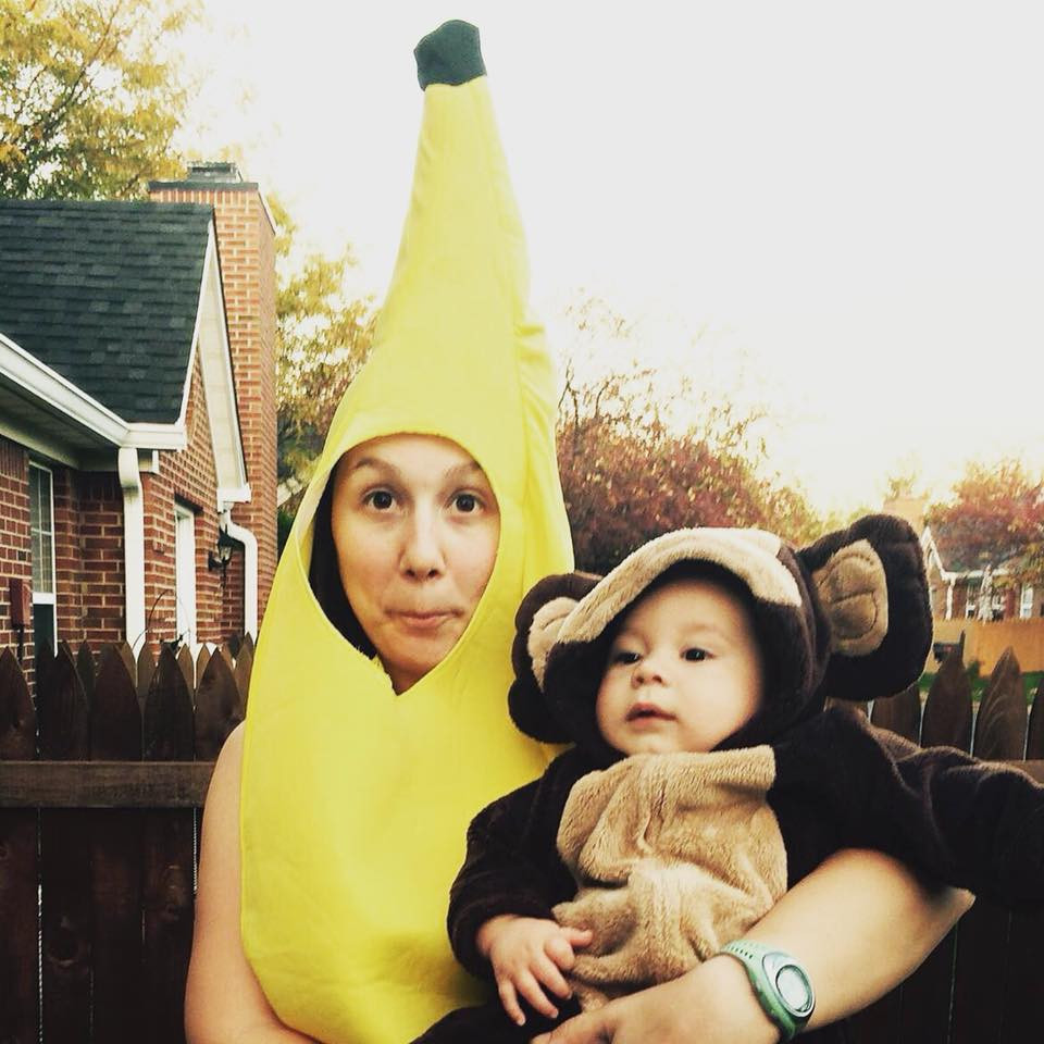 Lori Hager (Banana) & Milo (Monkey) dressed up for Halloween