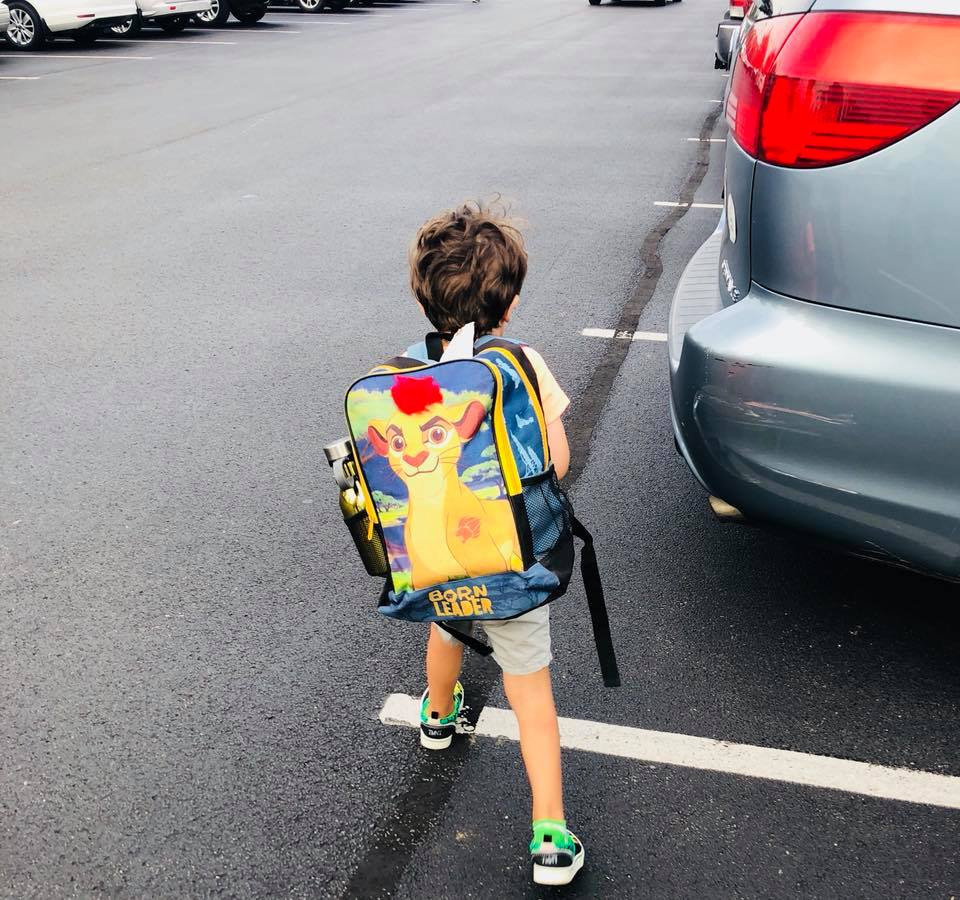 My son heading towards his 1st day of Pre-K