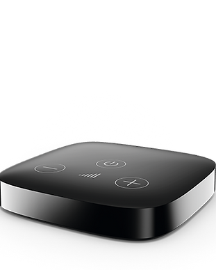 Hearing aid TV streamer. Stream audio directly to your Unitron or Phonak hearing aids.