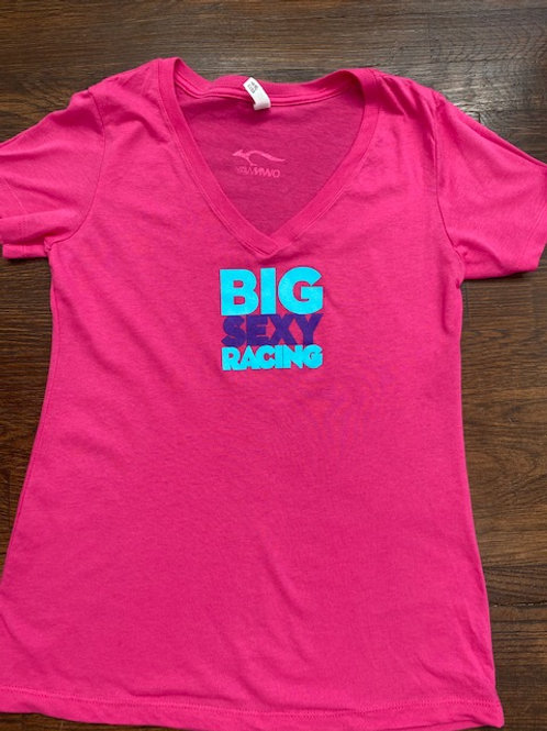 Pink V-Neck BIG SEXY RACING T-Shirt