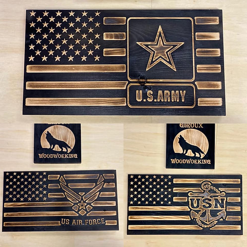 Military inspired Flag Wall Decor 11.5x21