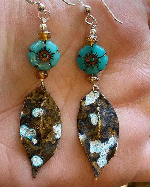 Patina mixed media earrings in the works