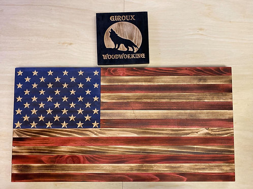 Rustic Style Large American Flag