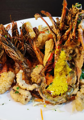 Seafood platter with lobster in Mauritius