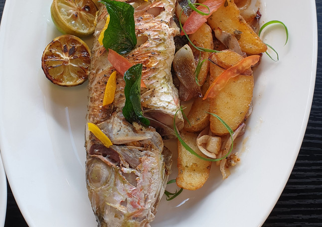 Freshly grilled fish in Mauritius at The Fisherman Lounge