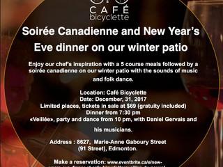 New Year's Eve Dinner- CAFÉ BICYCLETTE- December 31, 2017