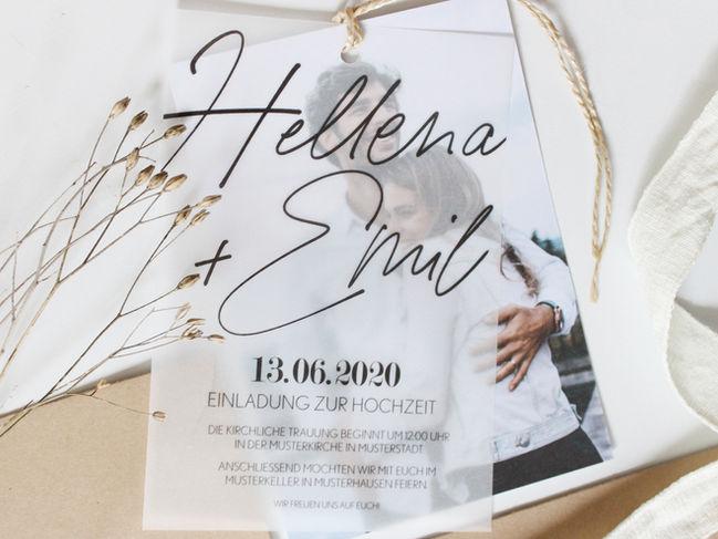 Rustikale Hochzeitseinladung aus Transparentpapier