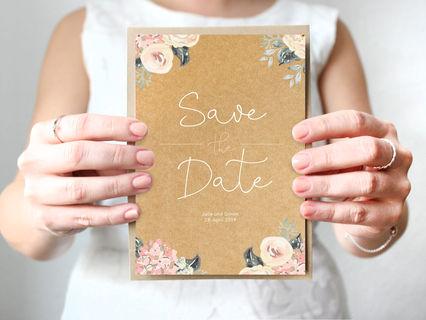 Save-the-Date Karte in Naturpapier-Optik