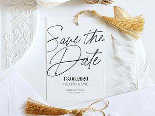 Save the Date - Karte mit goldenen Accessoires