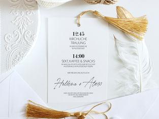 """Hochzeitseinladung """"golden tassels"""""""