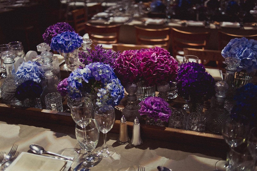 Blue and purple wedding flowers