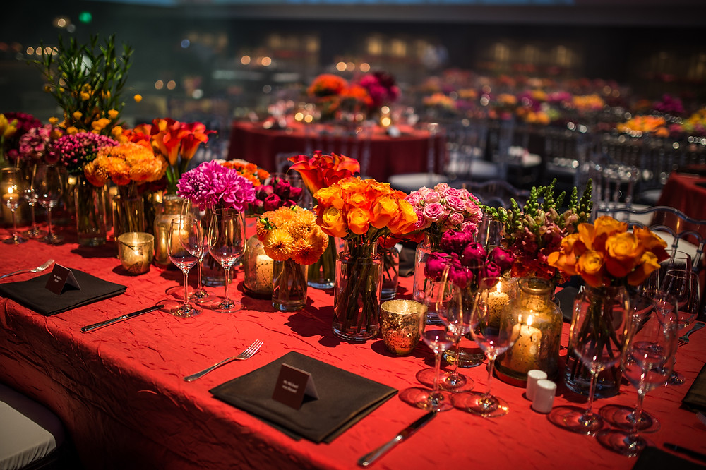 Bright orange and pink palette floral design