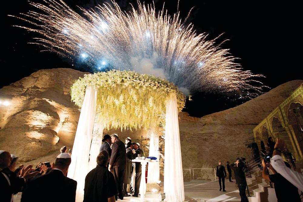 Fireworks at Beautiful Desert Wedding in Israel