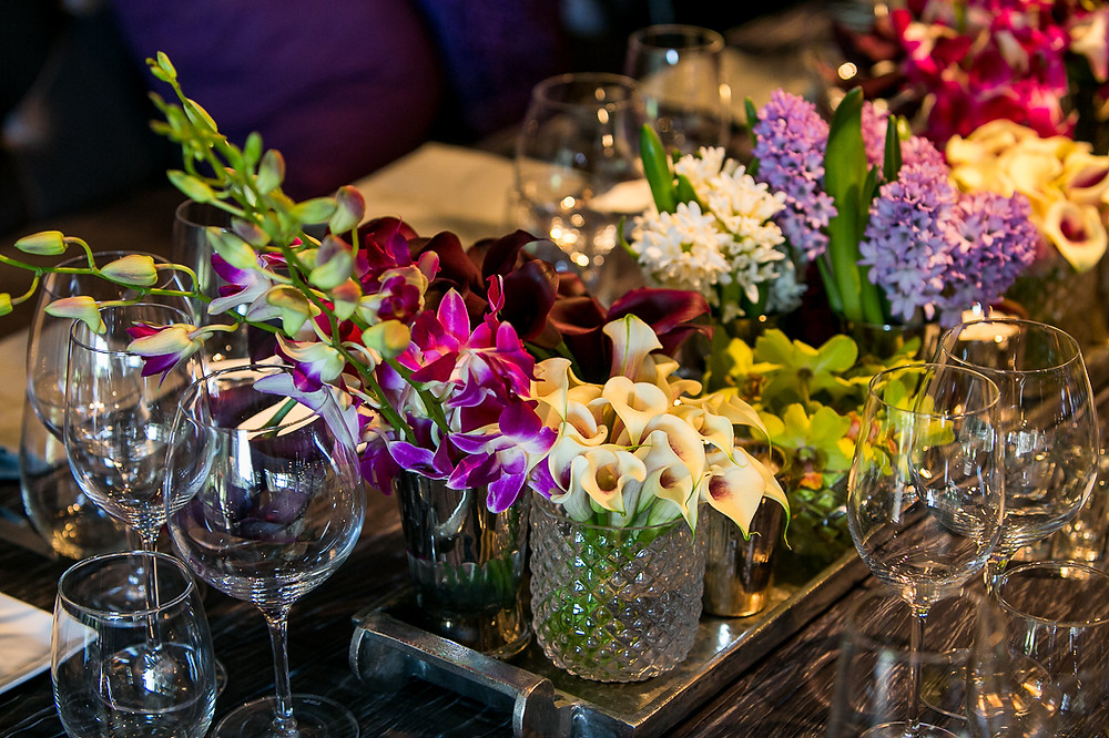 Springtime floral centerpiece with a tropical twist