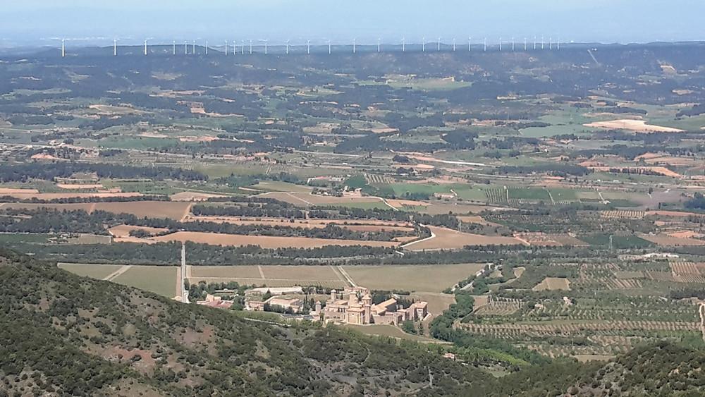 Poblet monastery and a wind farm