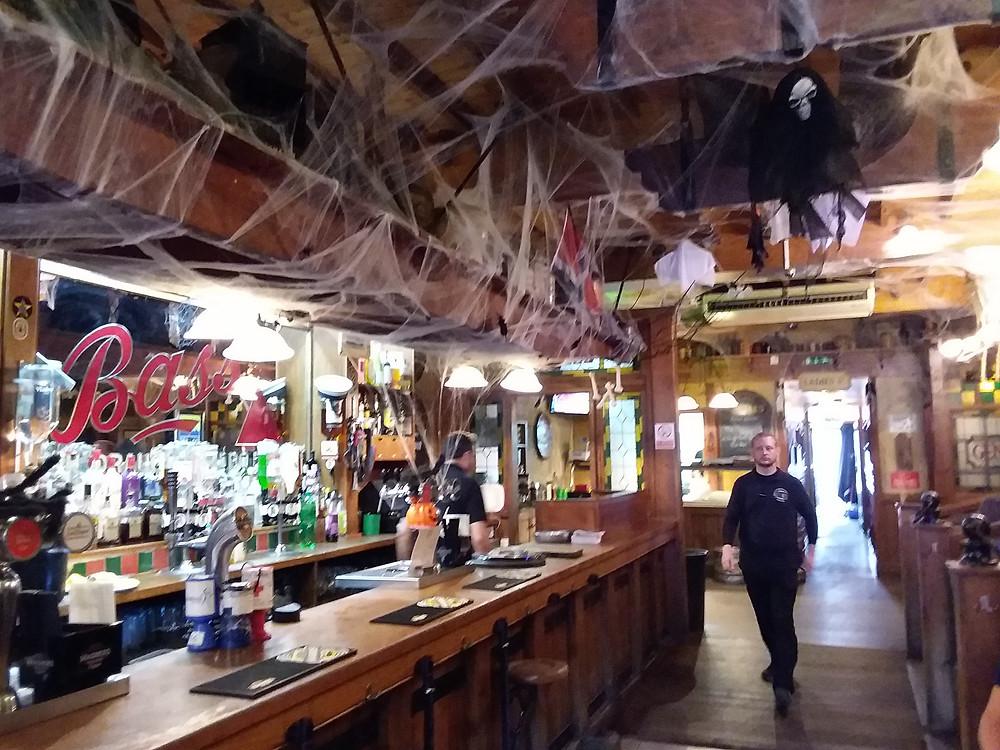 Ye Olde English pub with faux cobwebs
