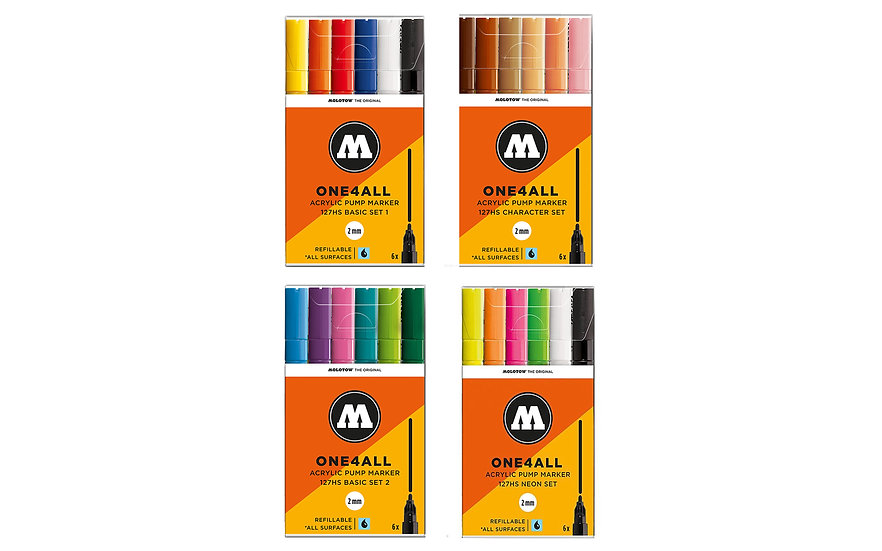 Molotow / 2mm 127 kit acrylic paint marker 6pc set
