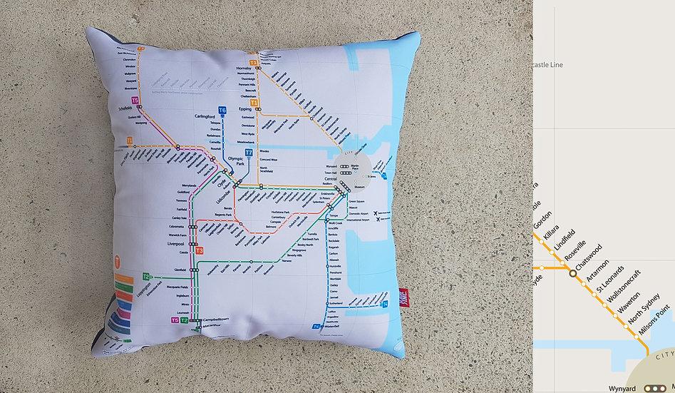 Raw Inc / NSW System Map 45x45cm cushion