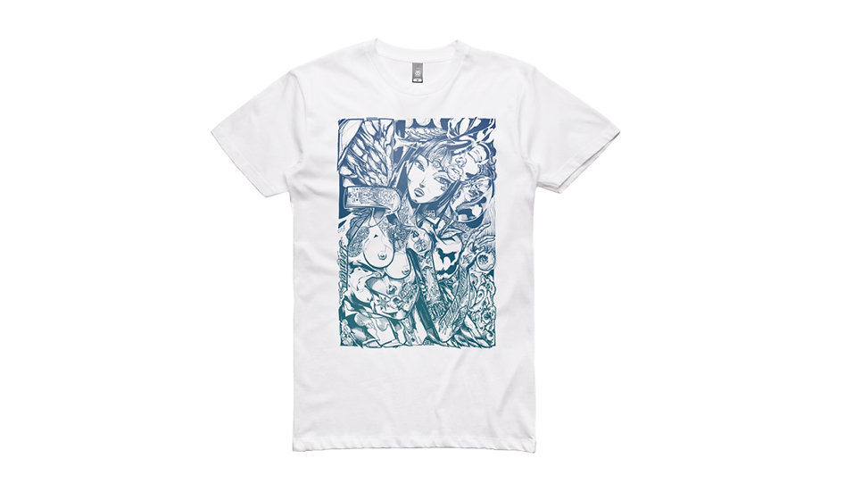 Ironlak / Sofles Girls Girls Girls II Pacific Neverland, white t-shirt