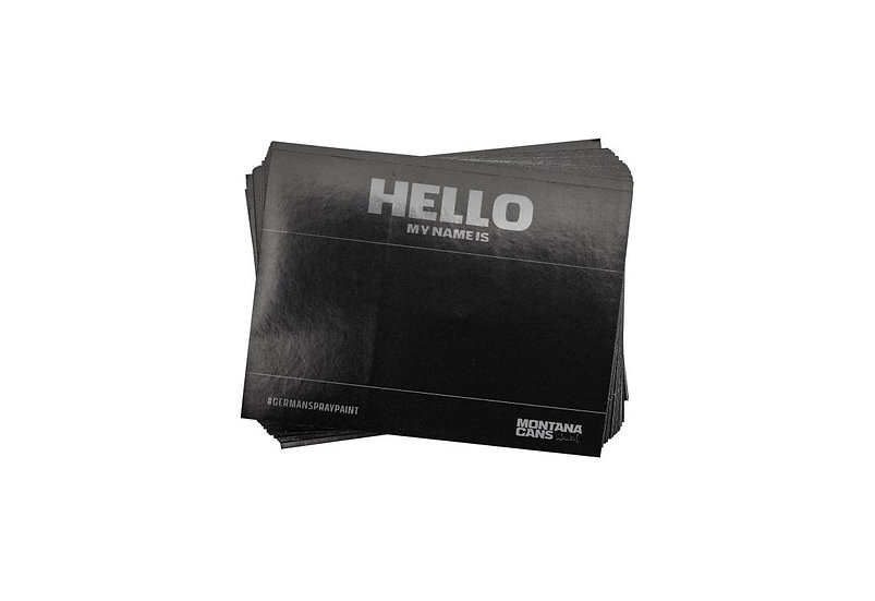 Montana / Black Hello My Name Is Sticker pack