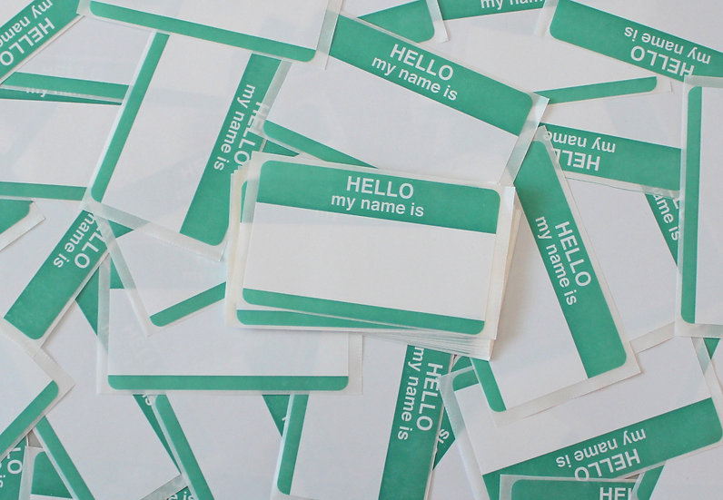Super Tack / Hello My Name Is Teal Eggshell sticker x50 pack