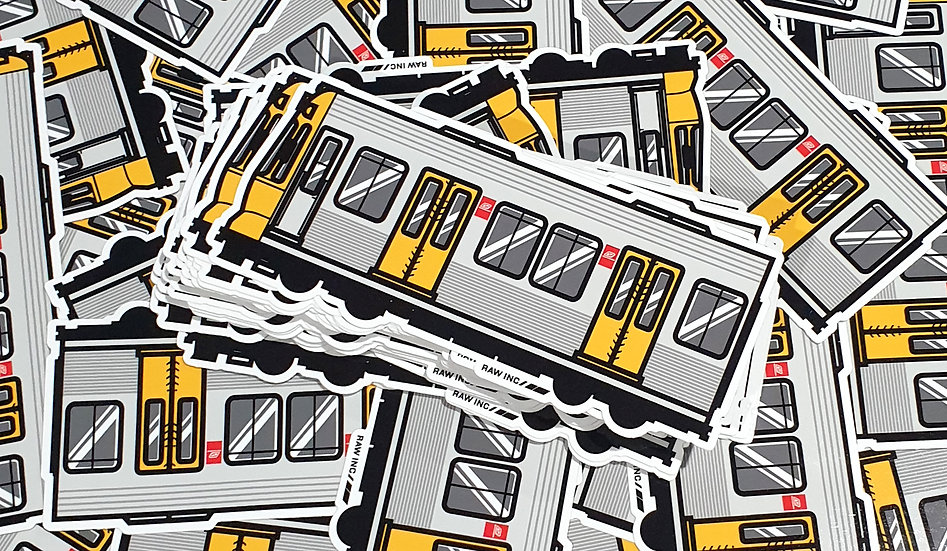 Raw / QLD Emu train 15cm sticker