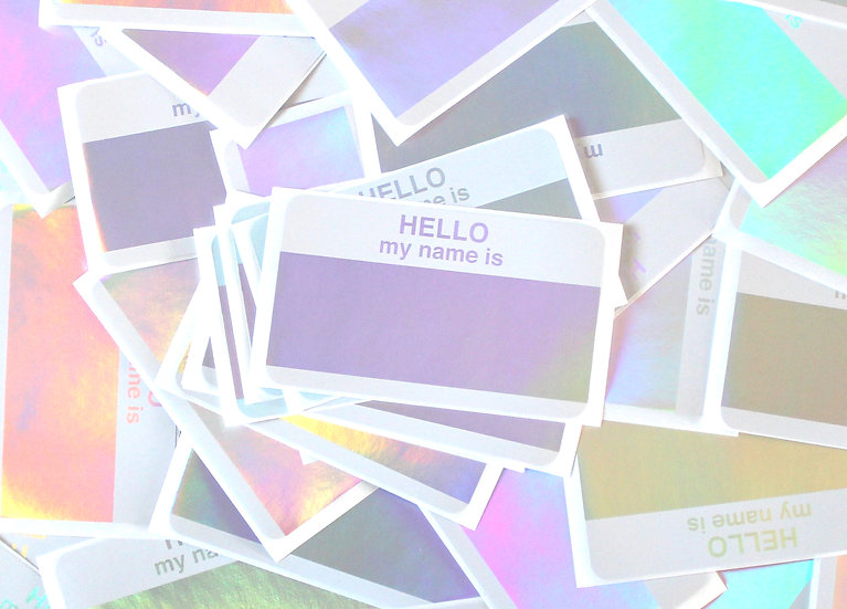 Super Tack / Hologram Hello My Name Is sticker x50 pack