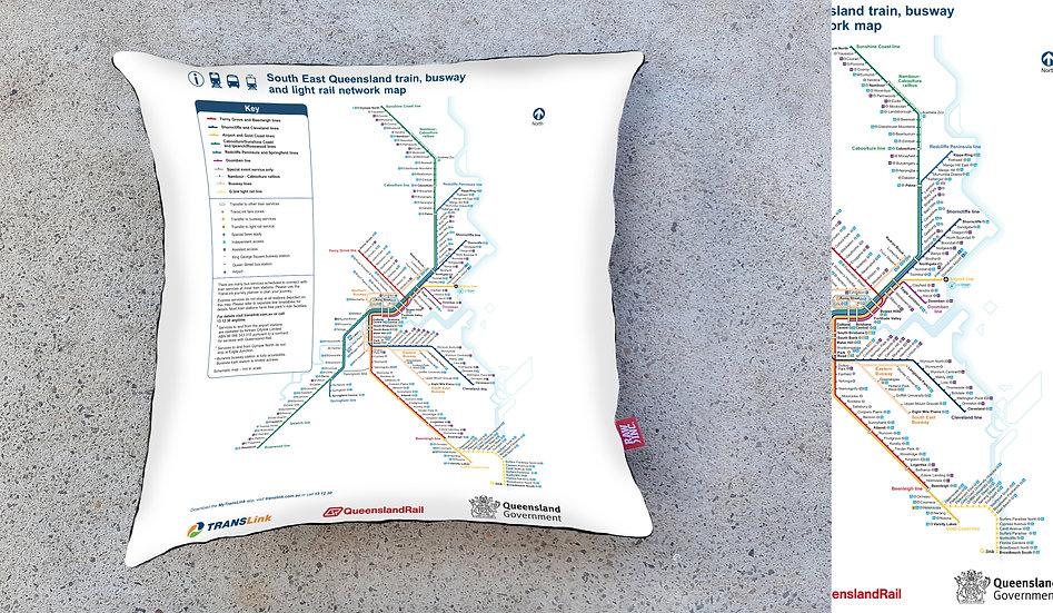 Raw Inc / QLD System Map 45 x 45 cm cushion