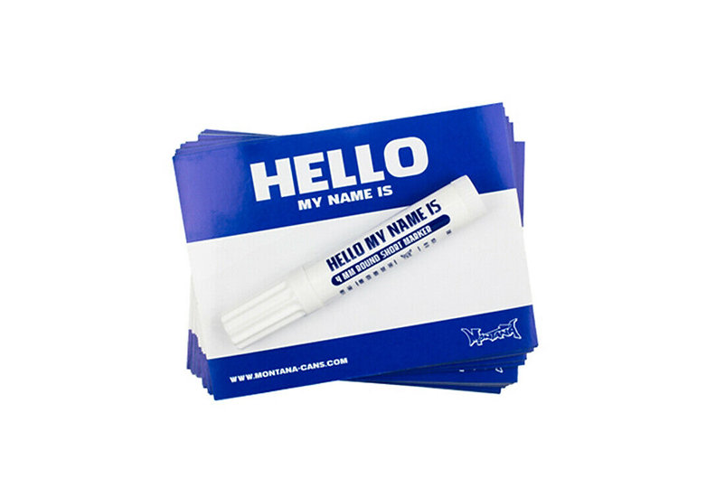 Montana / Blue Hello My Name Is Sticker pack