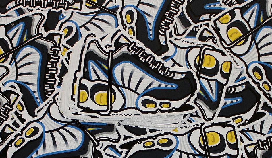 Raw / Tailwind 4 blu.wht 13cm sticker