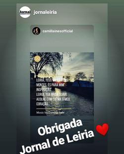 Camilla Ines Jornal de Leiria, Portugal, Dez 2019