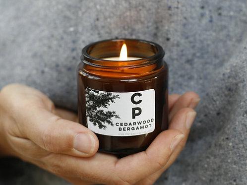 Amber Glass Cedarwood and Bergamot Candle