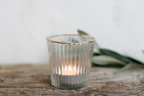 Gold Rimmed Tea Light Holder