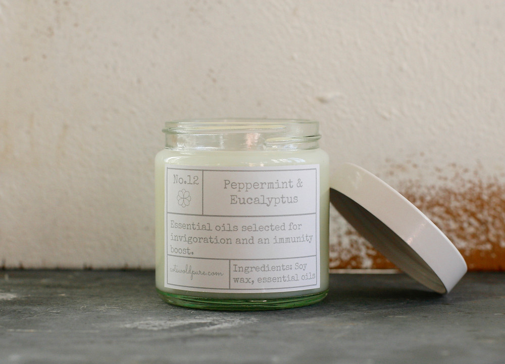 Peppermint and Eucalyptus Essential Oil Candle