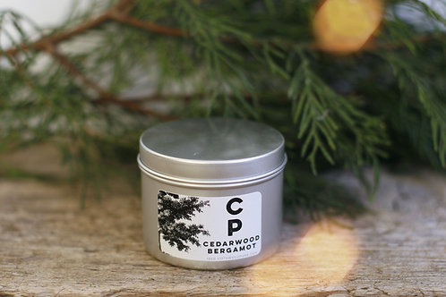 Cedarwood Bergamot Winter Tin Candle