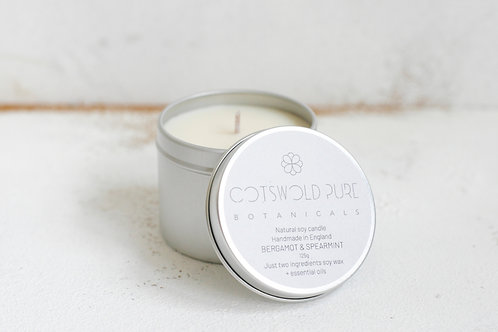 Bergamot & Spearmint Travel Tin Candle
