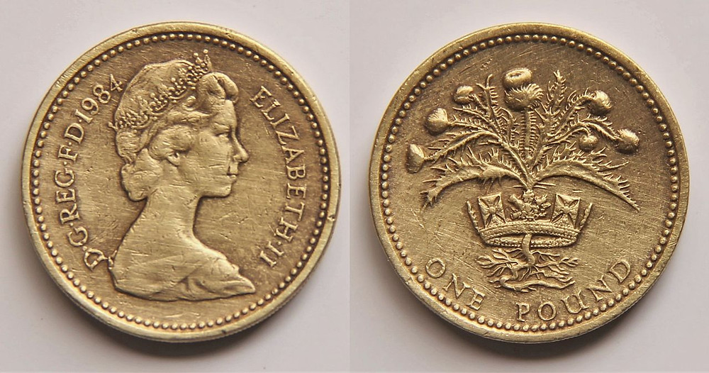 One pound sterling today (copyright Wikipedia)