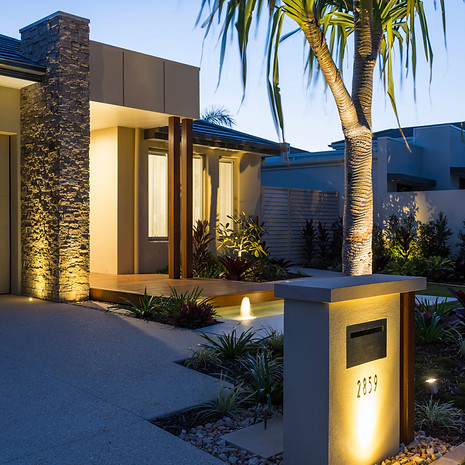 A welcoming entryway by night or day.