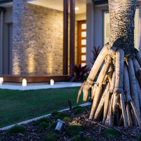 Details, such as outdoor lighting, make a big impact.