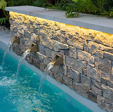 Fountains and water features evoke the sounds of nature.