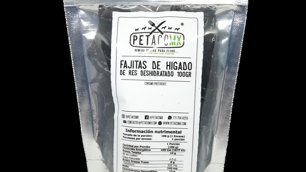 Fajitas de hígado de res deshidratadas 100 gr